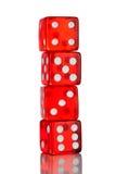 czerwoni klasyczni kostka do gry Zdjęcie Stock