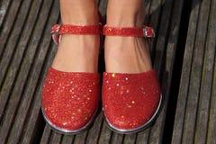 Czerwoni klasyczni tanów buty Fotografia Stock
