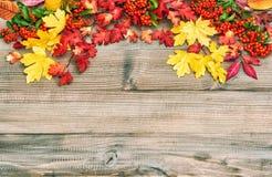 Czerwoni kolorów żółtych liście na drewnianym tle Jesień Obrazy Stock