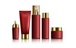 Czerwoni kosmetyczni zbiorniki ilustracja wektor