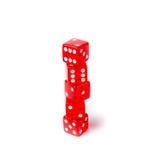 Czerwoni kostka do gry na białym tle Obrazy Stock