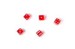 Czerwoni kostka do gry na białym tle Obraz Stock