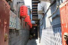 Czerwoni lampiony w Pekin, Chiny fotografia royalty free