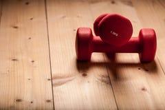 Czerwoni loght dumbbells na drewnianym Flor Fotografia Stock