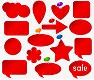 Czerwoni majchery ustawiający z barwionymi pushpins ilustracja wektor