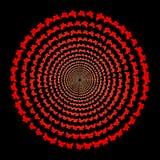 Czerwoni motyle, okrąg, kolor przemiana, tło Obraz Royalty Free