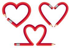 Czerwoni ołówkowi serca, wektoru set Obrazy Stock