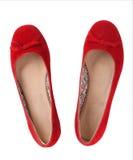 Czerwoni płascy buty Zdjęcie Royalty Free