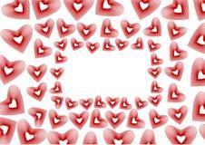czerwoni piękni ramowi serca Fotografia Royalty Free