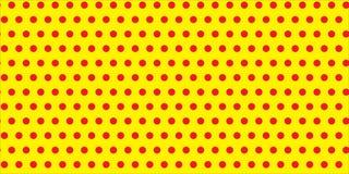 Czerwoni polek kropek okregów obwody na bezszwowym nieskończonym wzorze przeciw kolorowi żółtemu opróżniają astronautycznego tła  ilustracja wektor