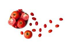 Czerwoni pomidory na białym tle Obrazy Royalty Free