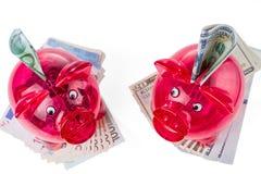 Czerwoni przejrzyści prosiątko banki z dolarowymi i euro banknotami Dywersyfikacja inwestycje zdjęcia royalty free