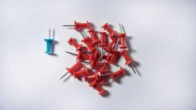 Czerwoni pushpins z jeden zdjęcia royalty free