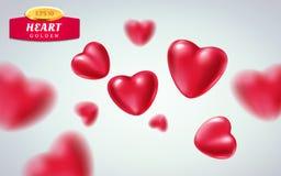 Czerwoni realistyczni serca na lekkim tle 3d wektorowa ilustracja kruszcowy luksusowy kierowy kształt w różnych widokach Zdjęcie Royalty Free