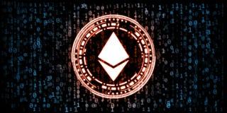 Czerwoni rozjarzeni ethereumETH monety dane w zero i jeden cyfr liczb formacie na błękitnym binarnym tle ilustracji