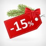 Czerwoni rzemienni cen boże narodzenia przylepiają etykietkę 15 procentów sprzedaż daleko Obraz Royalty Free