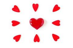 Czerwoni serca dla valentine miłości i dnia Obrazy Royalty Free