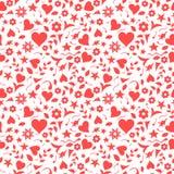 Czerwoni serca i kwiecisty doodles wzór ilustracja wektor
