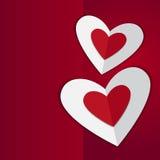 Czerwoni serca, kocham ciebie karcianego Fotografia Royalty Free
