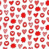 Czerwoni serca kształtują romantycznego bezszwowego wzór na białym tle Zdjęcia Stock