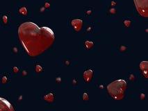 Czerwoni serca lata szkło na walentynka dniu Fotografia Stock