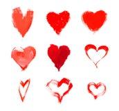 Czerwoni serca pociągany ręcznie Zdjęcie Royalty Free