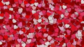 Czerwoni serca pojawiać się na wakacyjnym tle Zapętlająca 4K ruchu grafika dla walentynka dnia, matka dzień, poślubia ilustracja wektor