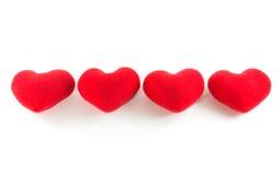 Czerwoni serca w rzędu wyrównaniu Fotografia Stock