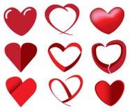 Czerwoni serca w Unikalnych projektach Obrazy Royalty Free