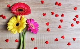 Czerwoni serca z kolorowym gerbera kwitną na drewnianej desce obrazy stock