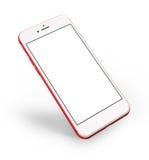 Czerwoni smartphones z pustym ekranem, odosobnionym na białym tle Zdjęcia Stock