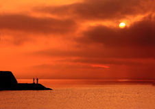 czerwoni spadków rybacy Fotografia Stock