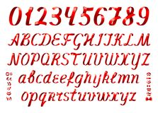 Czerwoni tasiemkowi abecadło listy, liczby na białym tle i ilustracji