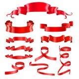 Czerwoni Tasiemkowi sztandary Silky błyszczący 3d projekta elementy royalty ilustracja