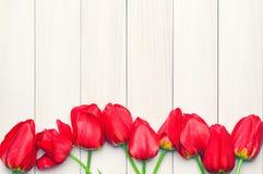 Czerwoni tulipany na lekkich deskach Fotografia Royalty Free