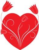 Czerwoni walentynki rewolucjonistki i serca kwiaty Ilustracyjni Obraz Royalty Free