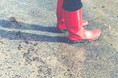 czerwoni wellies Fotografia Stock