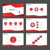 Czerwoni Wielocelowi Infographic elementy i ikony prezentaci szablonu płaski projekt ustawiają dla reklamowej marketingowej brosz Zdjęcie Royalty Free