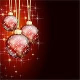 Czerwoni złociści wesoło boże narodzenia balowi Obraz Royalty Free