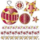 czerwoni złoci Boże Narodzenie ornamenty Fotografia Stock