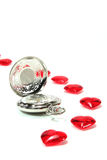 czerwoni zegarowi serca Fotografia Stock
