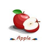 Czerwony аpple na bielu Zdjęcia Stock