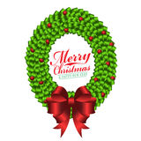 Czerwony łęk na zielonym tasiemkowym wianku dla Wesoło bożych narodzeń i szczęśliwego nowego roku świątecznego wektorowego projek Fotografia Stock