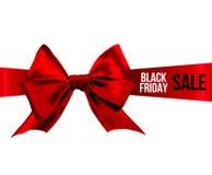 Czerwony łęk z BLACK FRIDAY sprzedażą na faborku Zdjęcie Royalty Free