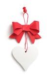 Czerwony łęk z sercem Zdjęcia Royalty Free