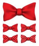 Czerwony łęku krawat z bielem kropkuje realistycznego wektorowego ilustracja set ilustracji