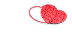 Czerwony łamigłówki serce na białym tle, miłości pojęcie Fotografia Stock
