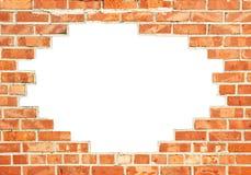 Czerwony ściana z cegieł z przerwą obraz royalty free