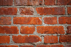 Czerwony ściana z cegieł zbliżenie Obrazy Stock