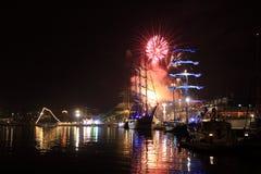 Czerwony świąteczny fajerwerku Varna port Bułgaria Zdjęcie Royalty Free